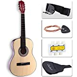 LAGRIMA Acoustic Guitar with Guitar Case, Strap, Tuner & Pick Steel Strings for beginners/adults/kids (38' Brown)
