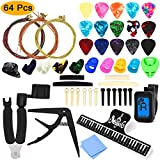 64 PCS Guitar Accessories Kit, ZALALOVA All-in 1 Guitar Tool Changing Kit Including Guitar Picks, Capo, Acoustic Guitar Strings,...
