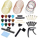 Auihiay 51 PCS Guitar Accessories Kit Guitar Tool Changing Set Include Acoustic Guitar Strings, Capo, Music Book Clip, Picks,...