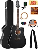 Takamine GD30CEBLK Dreadnought Cutaway Acoustic-Electric Guitar - Black Bundle with Hard Case, Cable, Tuner, Strap, Strings,...