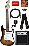 Fender Squier 3/4 Size Kids Mini Strat Electric Guitar Learn-to-Play Bundle w/ Amp, Cable, Tuner, Strap, Picks, Fender...