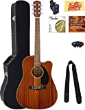 Fender CD-60SCE Dreadnought Acoustic-Electric Guitar - All Mahogany Bundle with Hard Case, Tuner, Strap, Strings, Picks,...